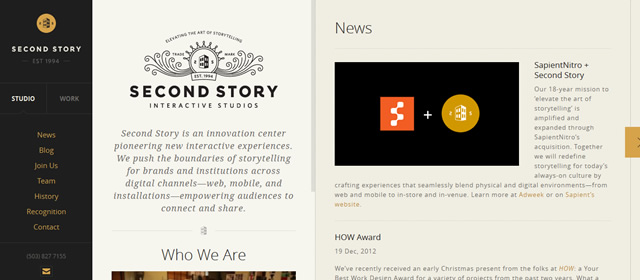 Second Story screenshot in Best of Web Design 2012 screenshot in favorite Web Designs 2012