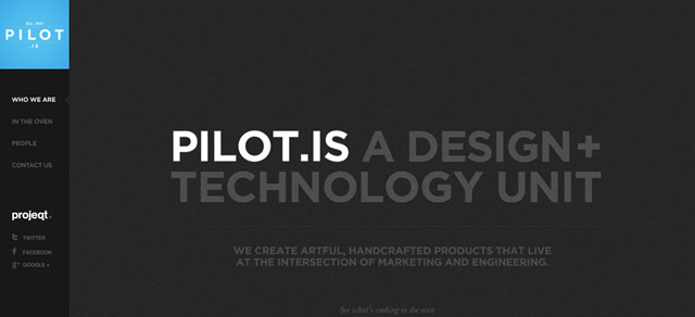 Pilot.is screenshot in favorite Designs from 2012