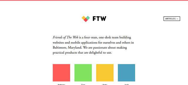 Friends of The Web screenshot in Best of Web Design 2012