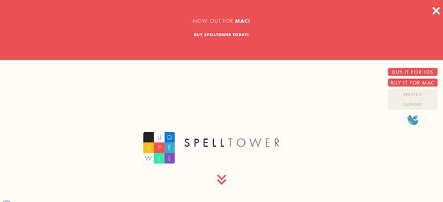 SpellTower screenshot in Best of Web Design 2012