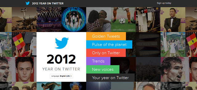 2012 Year on Twitter screenshot in Best of Web Design 2012