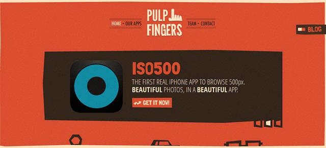 Pulpfingers screenshot in Best of Web Design 2012