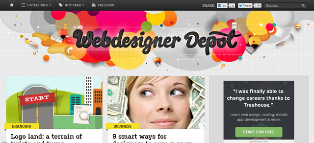 Webdesigner Depot screenshot in Best of Web Design 2012