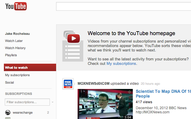 New YouTube layout redesign December 2012