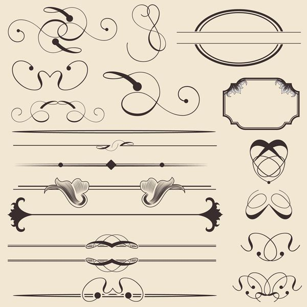 Vintage Calligraphic Decorations vector resources