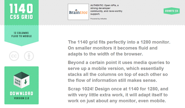1140 pixels grid system css layout website design