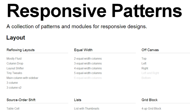 mobile smartphone responsive web design patterns