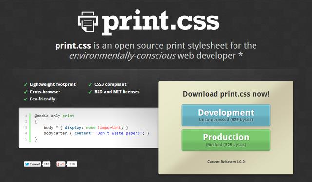 print stylesheet website open source css library