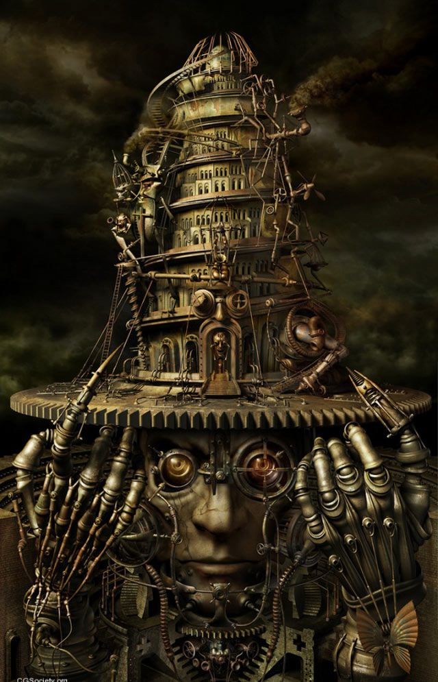 Steampunk Brain Tower Artwork