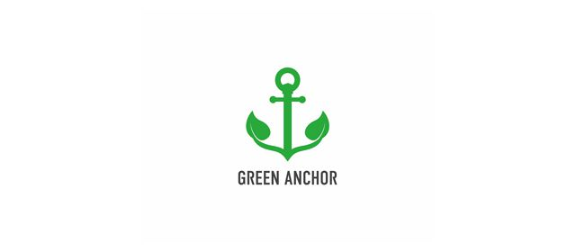 Green Anchor Logo beautiful symmetrical