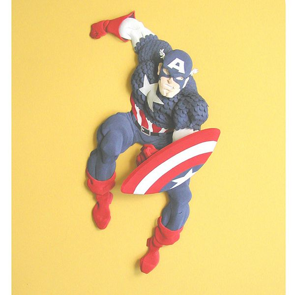 papercraft sculpture of captain america by Cheong-ah Hwang