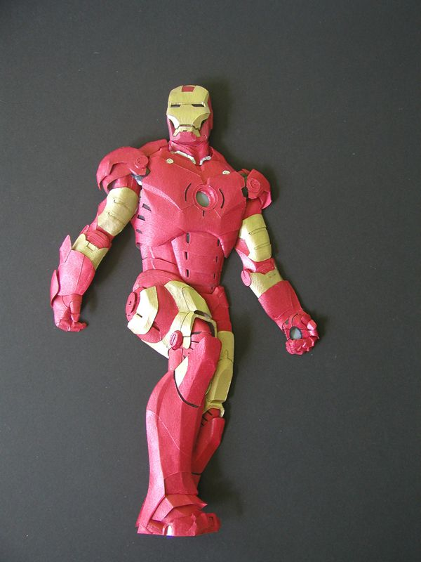 papercraft sculpture of iron man by Cheong-ah Hwang