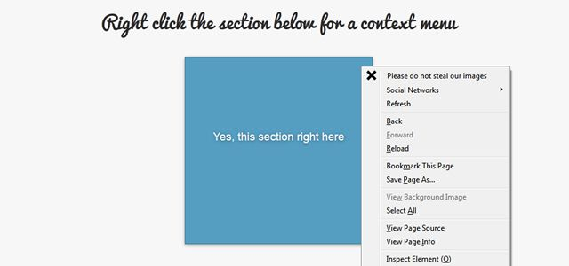 html5 Context Menu Demo