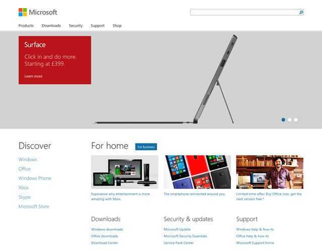 Microsoft as an example of flat web design