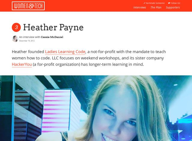 examples web design flat Women and Tech