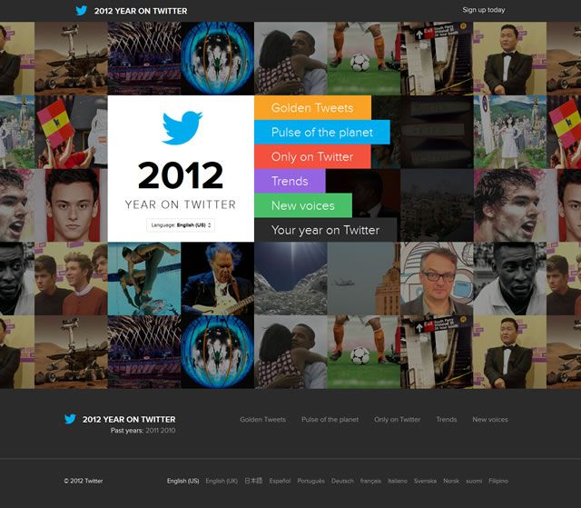 examples web design flat 2012 Year on Twitter