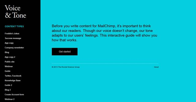 Voice and Tone as an example of flat web design