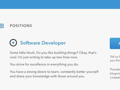 Jobs Page as an example of flat web design