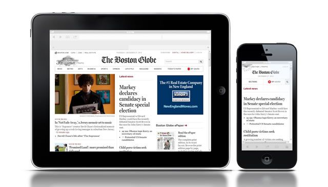The foreground ad from the desktop version of the boston globe responsive web design