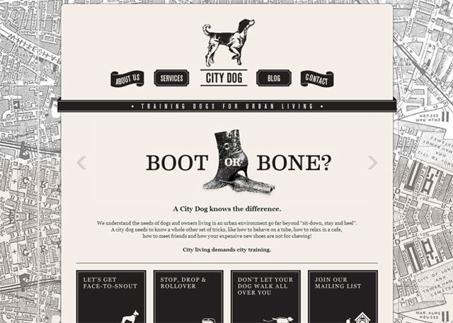 City Dog as an example of symmetry in web design
