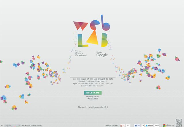 Chrome Web Lab as a beautiful example of web design Symmetry