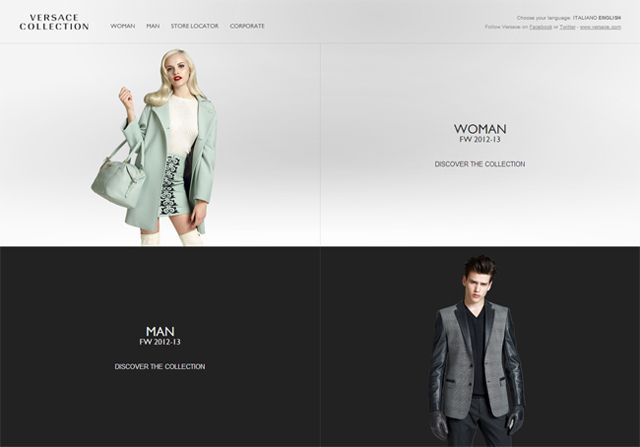 Versace Collection - Example of web design Symmetry