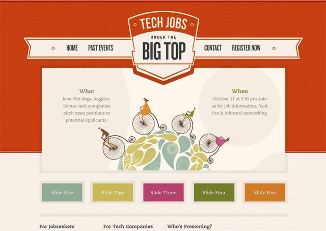 Big Top - Example of symmetry in web design