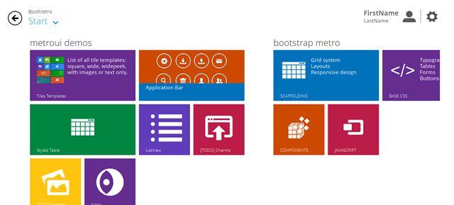 BootMetro - Windows 8 MetroUI style html css