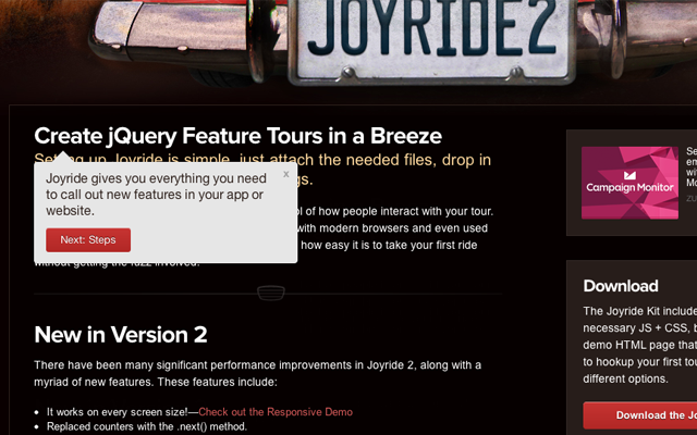 joyride jquery open source plugin codes