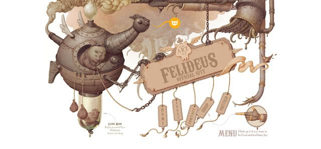 The Art of Felideus web design steampunk style