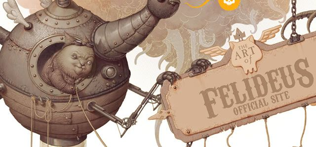 The Art of Felideus web site steampunk