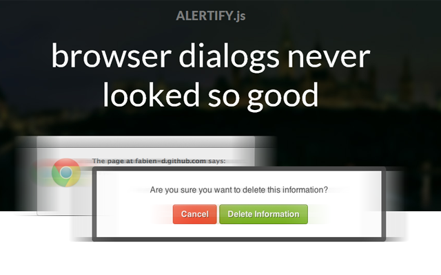 jquery javascript alertify messages webpage