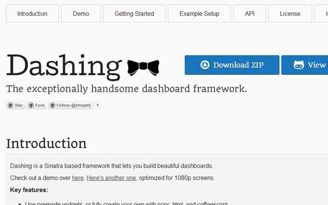 open source dashboard webpage github framework