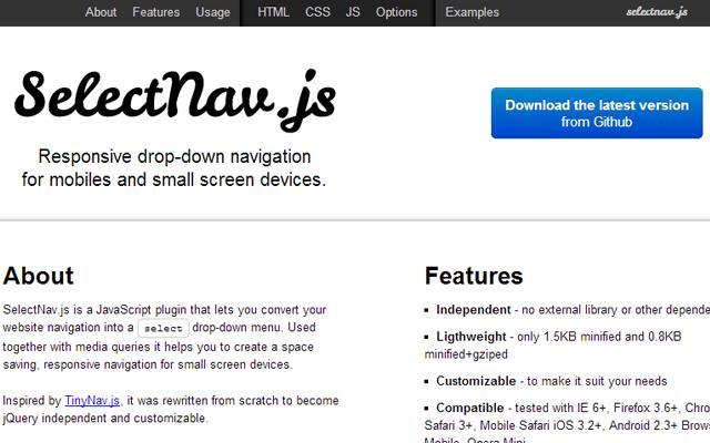 selectnavjs open source github demo page