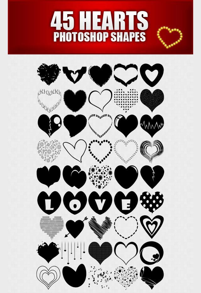 photoshop custom shape Heart
