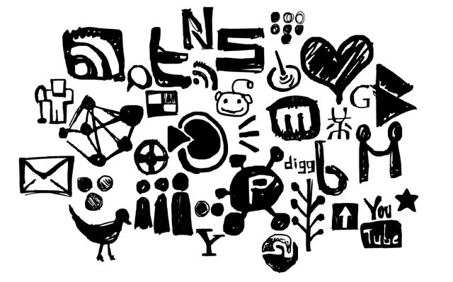 photoshop custom shape Hand Drawn Social Networking