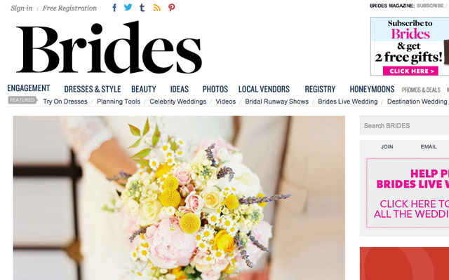 magazine-style top header navigation brides magazine homepage website