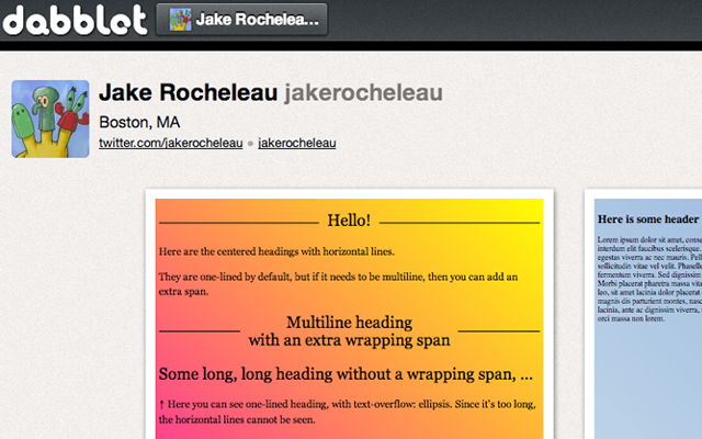 dabblet profile saved projects css html webpage