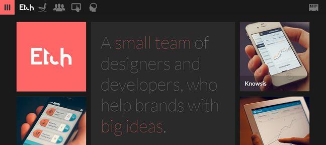 clean web design Etch Design Company screenshot inspiration