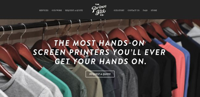 clean agency design The Prince Ink Company Design Company screenshot inspiration