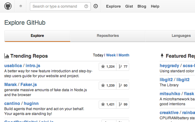 custom github explore projects open source
