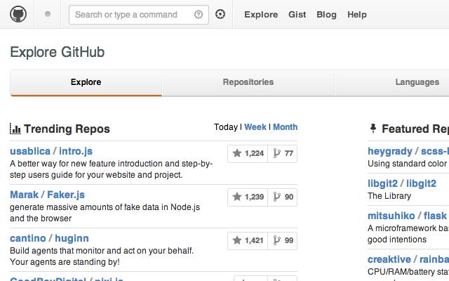 custom github explore projects open source