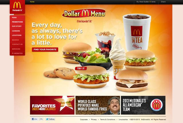 McDonalds Homepage UX of Fast Food Homepages