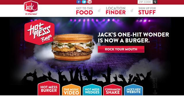 Jack In The Box UX of Fast Food Homepage