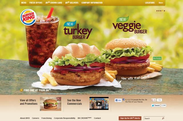 UX of Fast Food Homepages Burger King