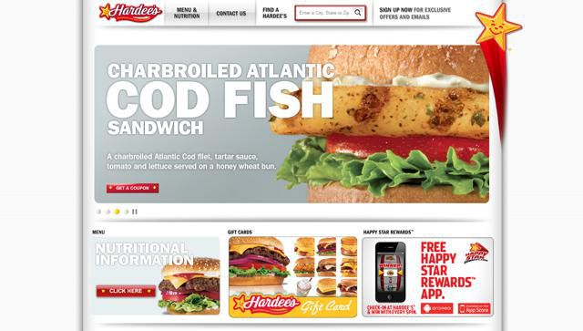 Hardee's UX of Fast Food Homepages
