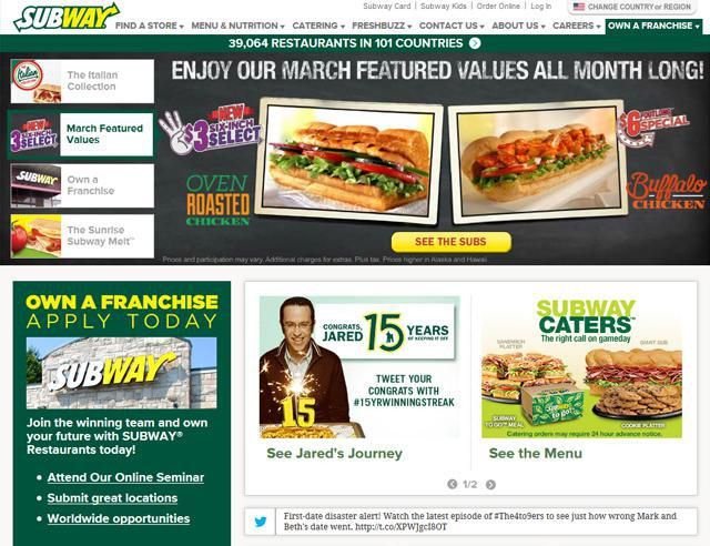 Subway Homepage