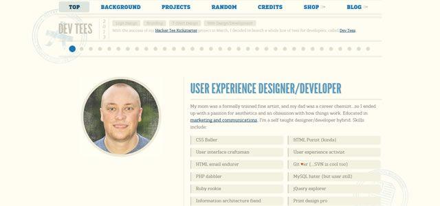 menu bar horizontal Joel Glovier site