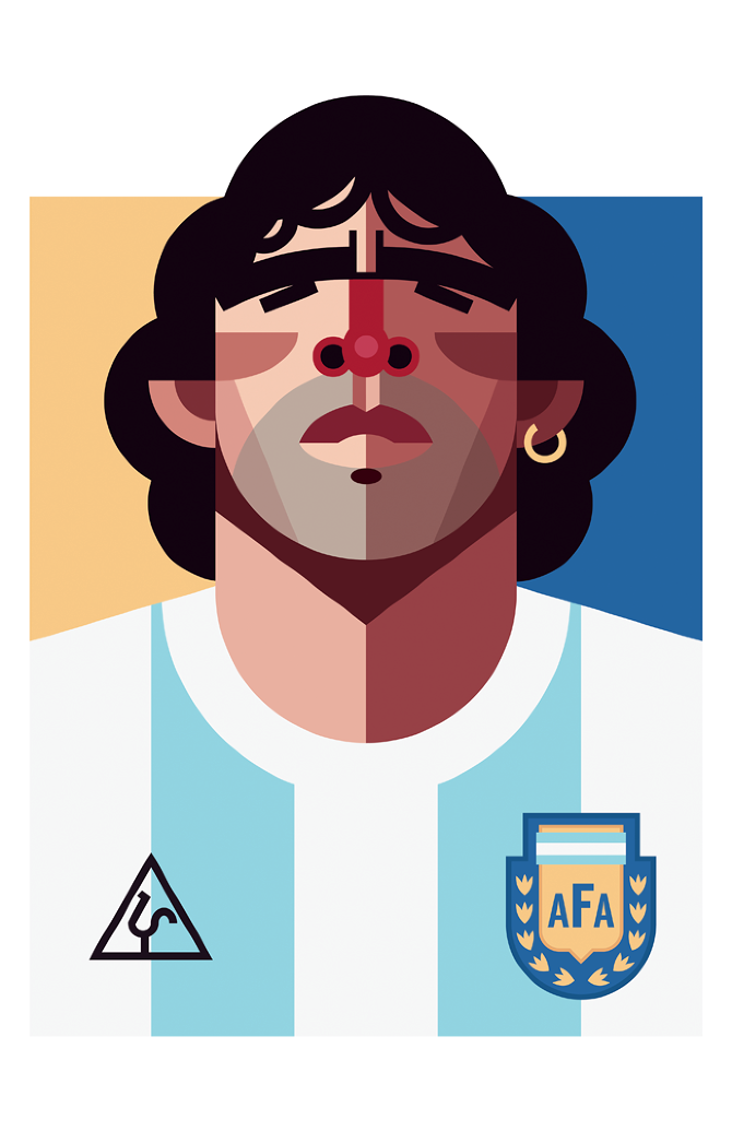 illustration playmakers  football maradona