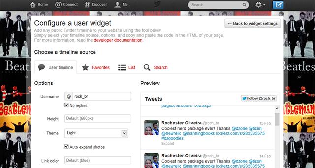 Developer Tools twitter widget tutlorial